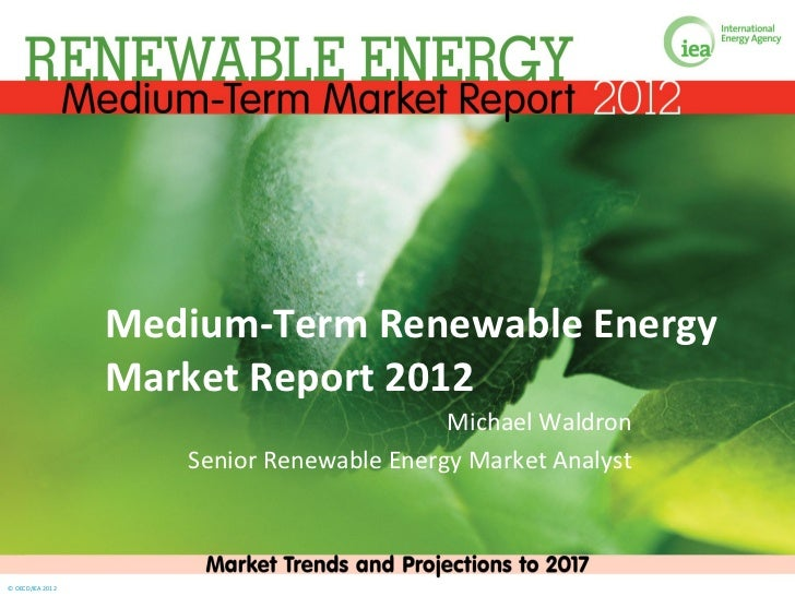 Medium-Term Renewable Energy                  Market Report 2012                                           Michael Waldron...