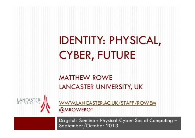Identity: Physical, Cyber, Future