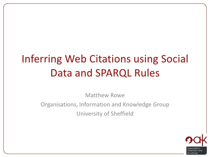 Inferring Web Citations using Social Data and SPARQL Rules<br />Matthew Rowe<br />Organisations, Information and Knowledge...
