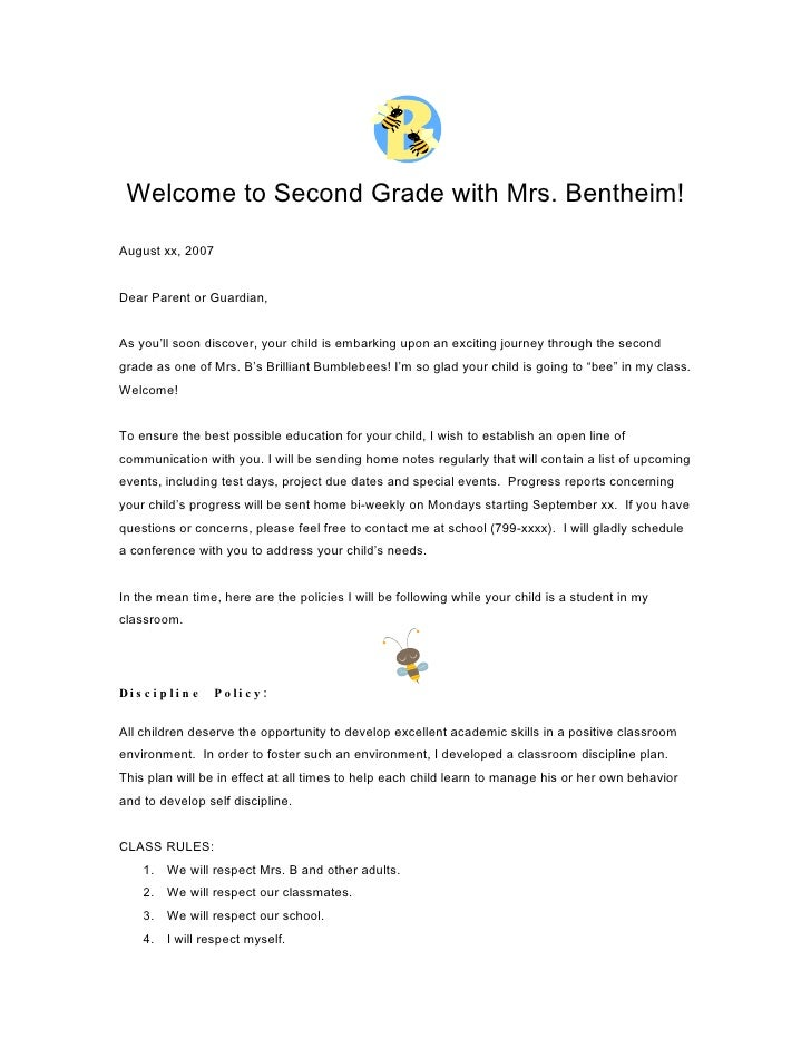 Welcome to Second Grade with Mrs. Bentheim!  August xx, 2007   Dear Parent or Guardian,   As you'll soon discover, your ch...