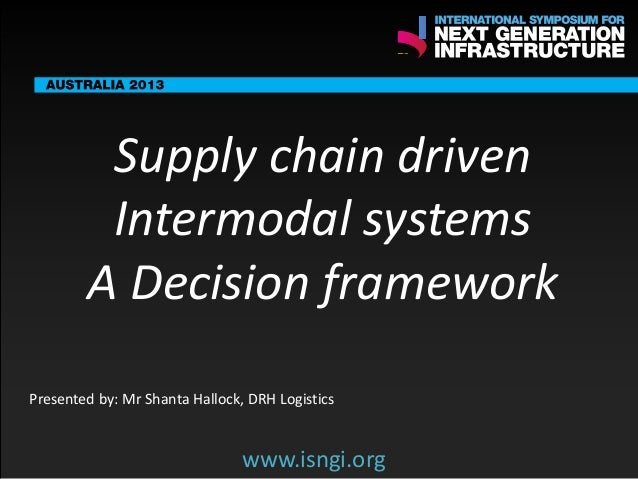 ENDORSING PARTNERS  Supply chain driven Intermodal systems A Decision framework  The following are confirmed contributors ...