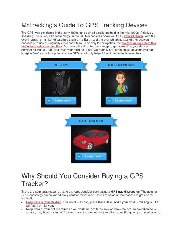 Mr.Tracking's Guide to GPS Tracking Devices