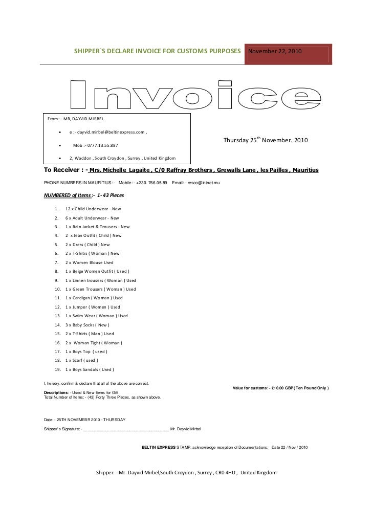 Customs Invoice Template Pasoevolistco - Customs invoice template