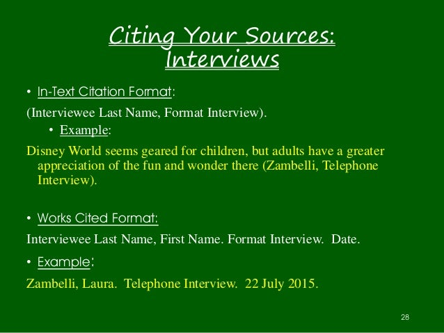 How do you cite an interview for a research paper?