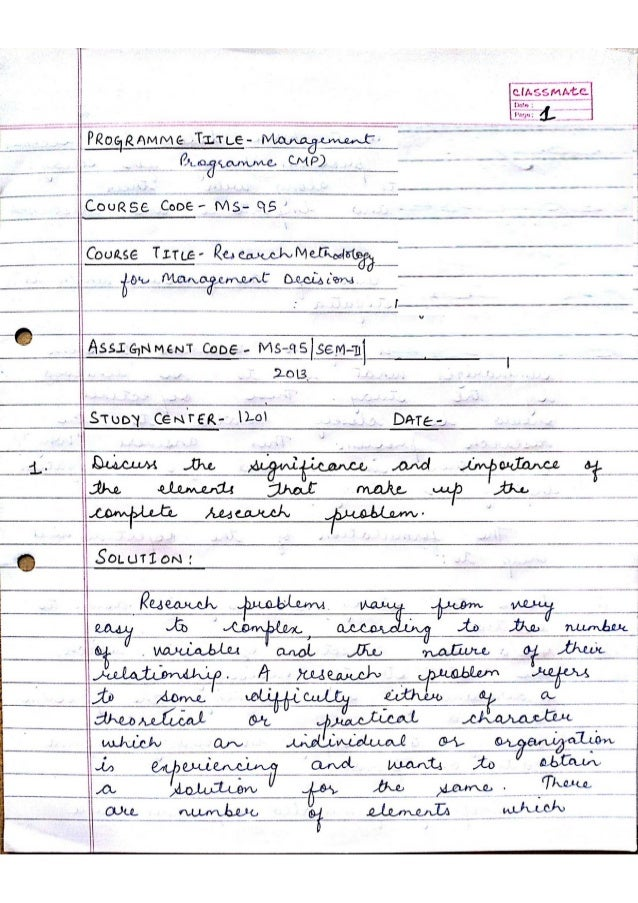 Ms 95 assignment Research Methodology for Management Decisions