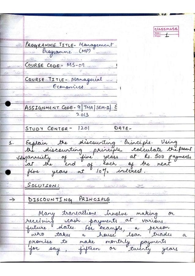 MS-09 assignment Managerial Economics