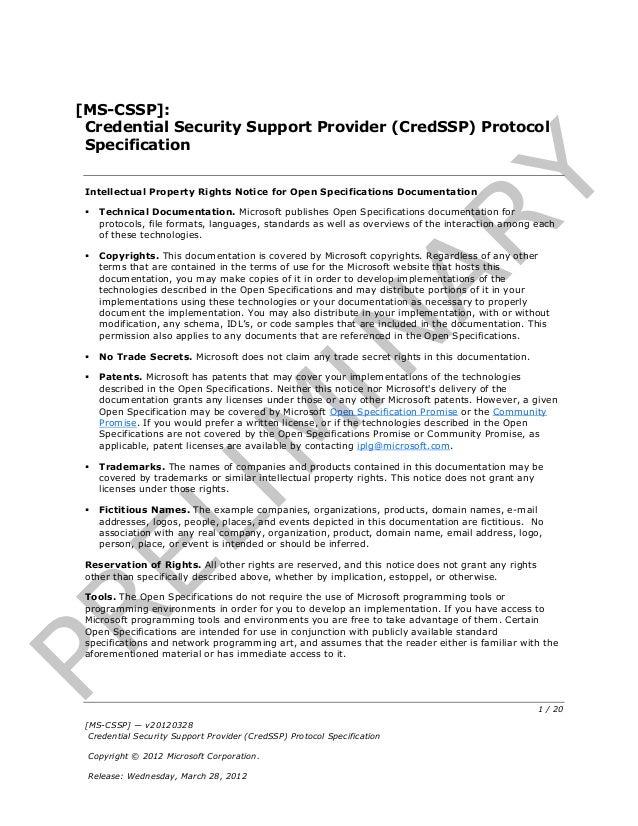 [MS-CSSP]:  Credential Security Support Provider (CredSSP) Protocol  Specification                                        ...