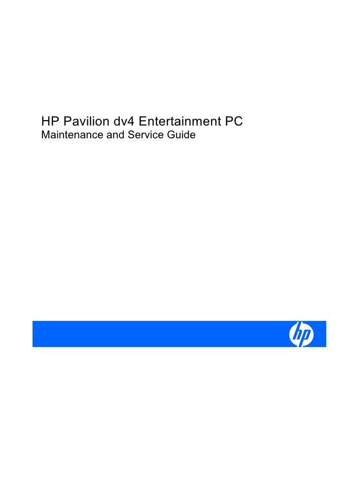 HP Pavilion dv4 Entertainment PCMaintenance and Service Guide