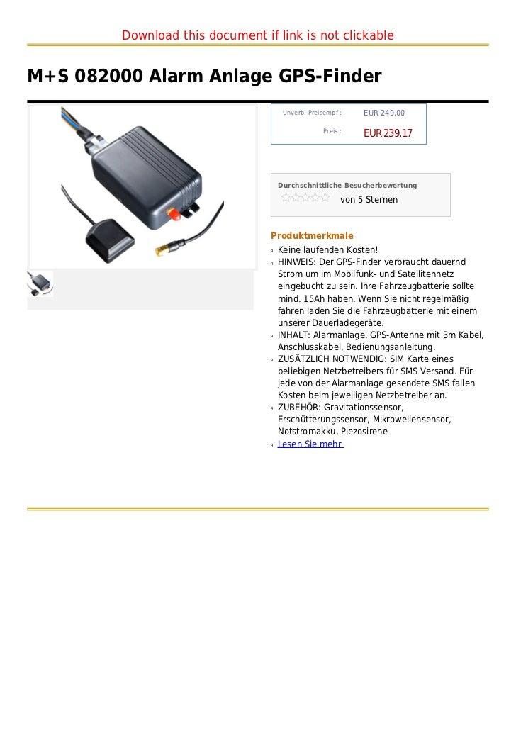 M+s 082000 alarm anlage gps finder