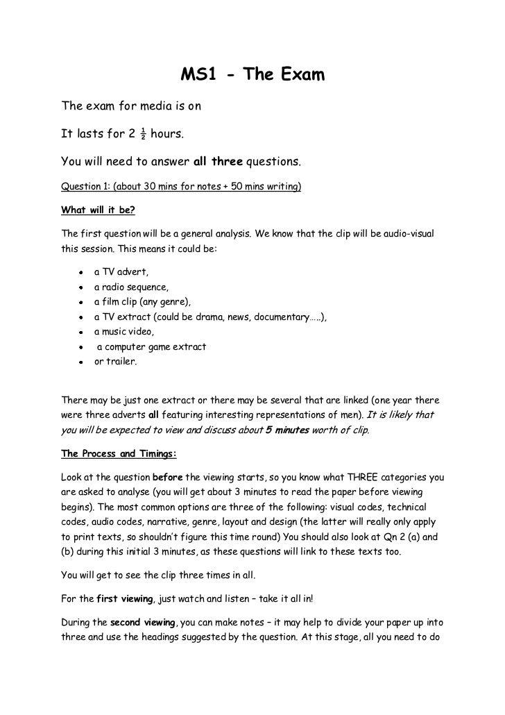 Ms1 summary of exam