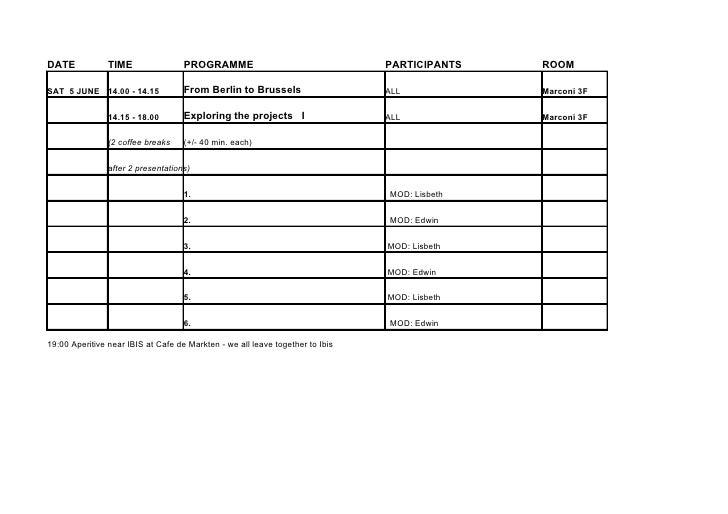 DATE         TIME                PROGRAMME                               PARTICIPANTS    ROOM  SAT 5 JUNE 14.00 - 14.15   ...