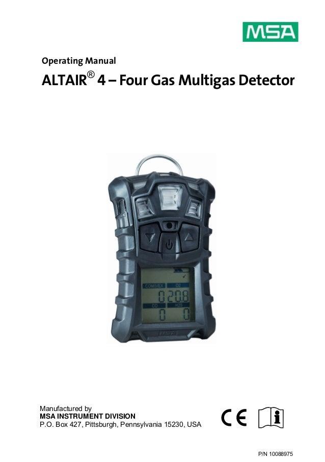Msa Altair 4 Meter Manual