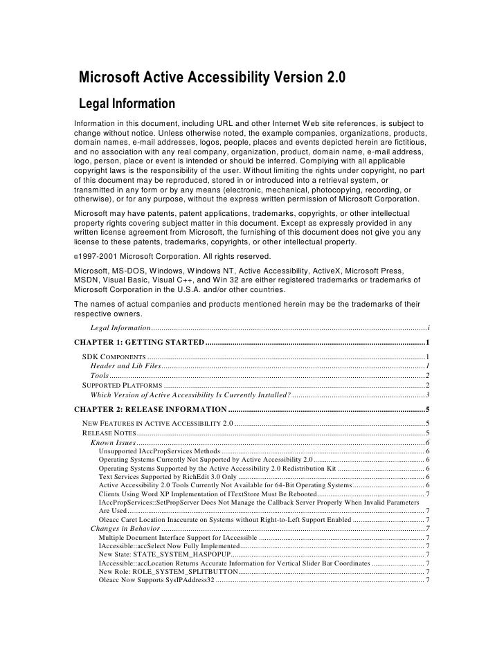 Microsoft Active Accessibility Version 2.0 Legal InformationInformation in this document, including URL and other Internet...