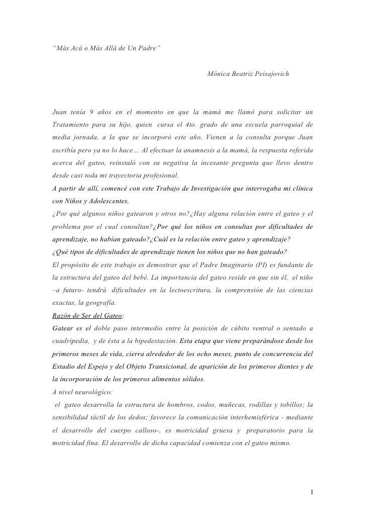 """""""Más Acá o Más Allá de Un Padre""""                                                         Mónica Beatriz Peisajovich     Ju..."""