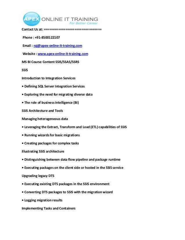resume msbi ssas ssis ssrs best free home design