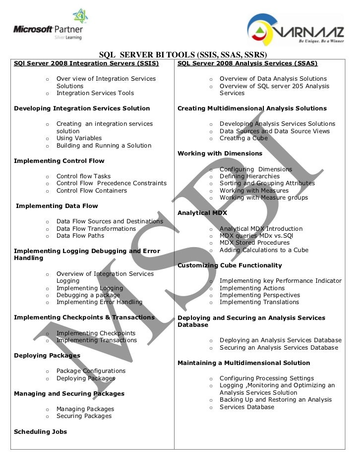 MSBI Course Contents