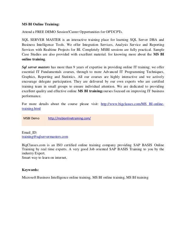 MSBI online training classes
