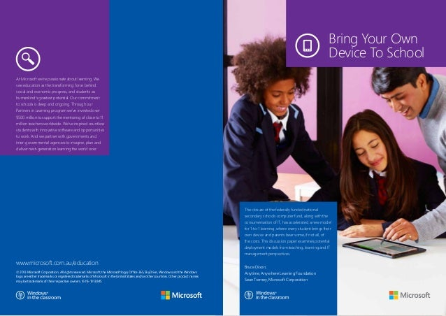 Microsoft Bring Your Own Device to School - K-12 Briefing Paper - 2013 Update