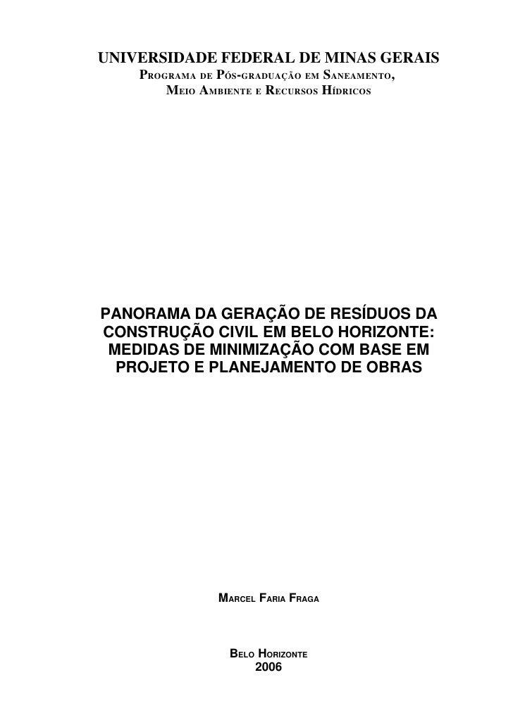UNIVERSIDADE FEDERAL DE MINAS GERAIS     PROGRAMA DE PÓS-GRADUAÇÃO EM SANEAMENTO,         MEIO AMBIENTE E RECURSOS HÍDRICO...
