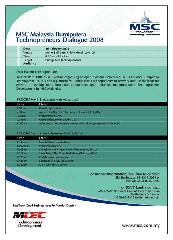 MSC Malaysia Bumiputera Technopreneurs Dialogue
