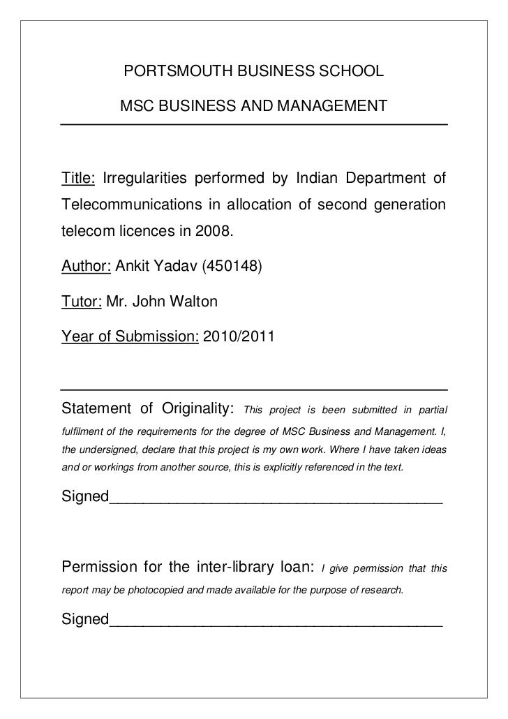PORTSMOUTH BUSINESS SCHOOL             MSC BUSINESS AND MANAGEMENTTitle: Irregularities performed by Indian Department ofT...