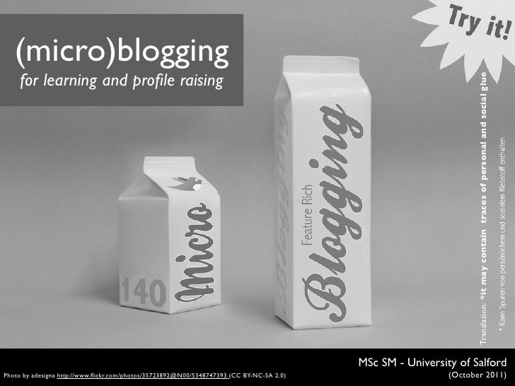 (micro)blogging     for learning and profile raising                                                                       ...