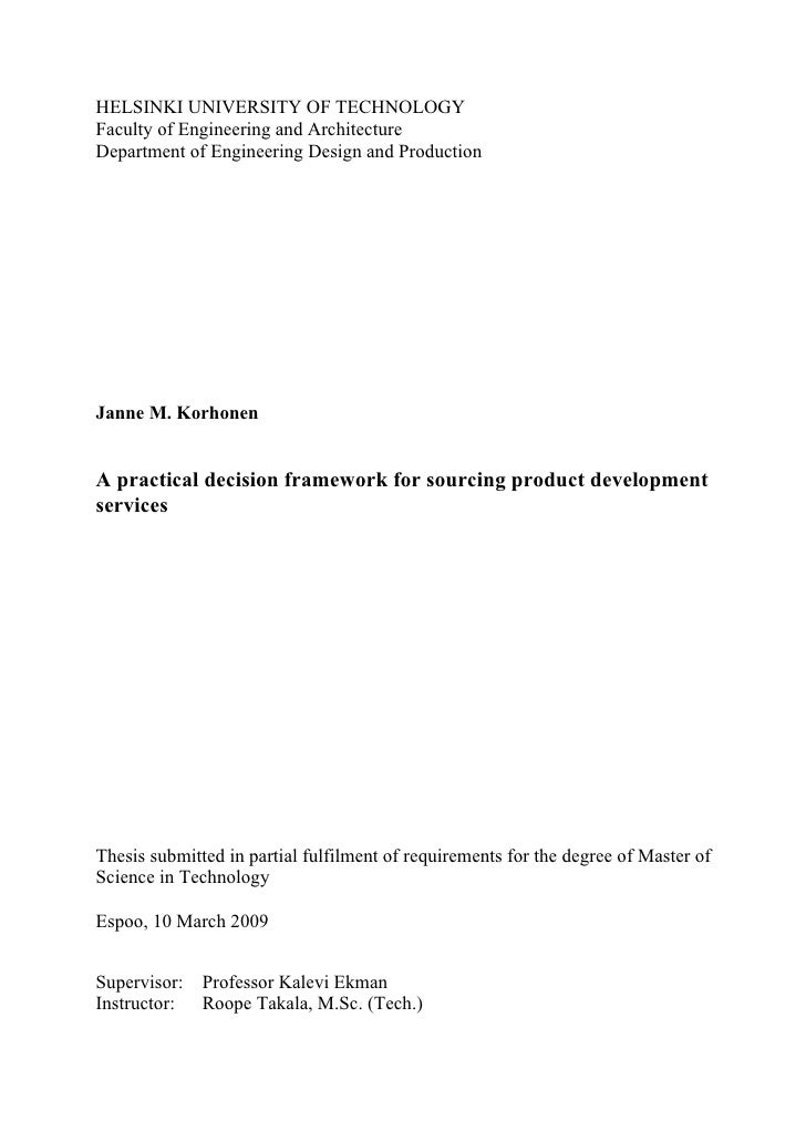 HELSINKI UNIVERSITY OF TECHNOLOGY Faculty of Engineering and Architecture Department of Engineering Design and Production ...