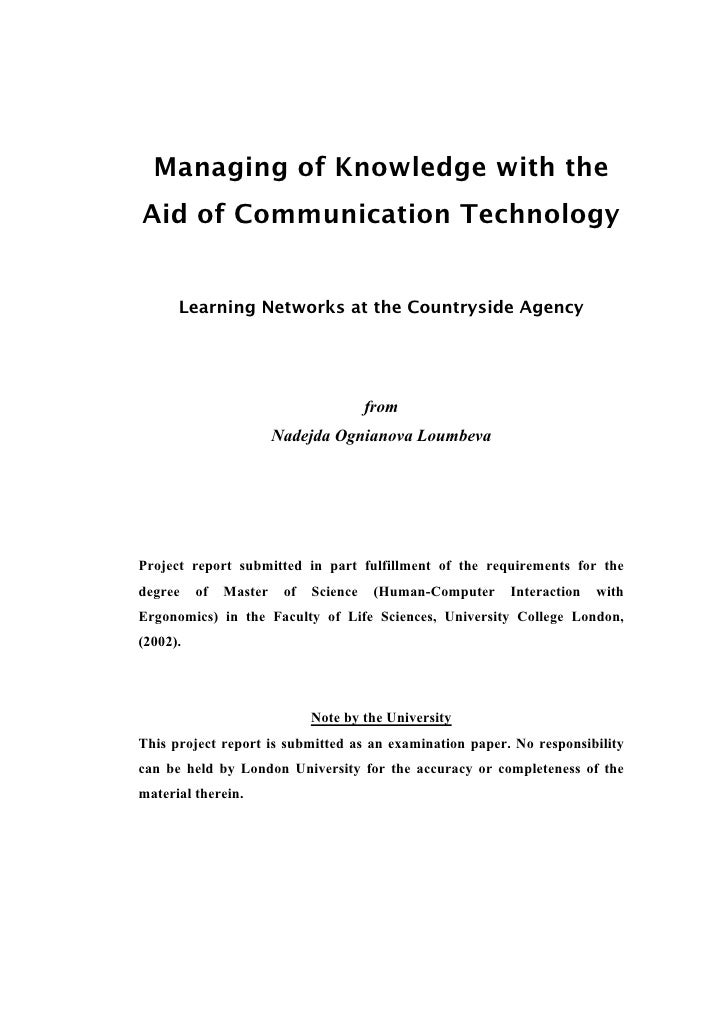 Managing of Knowledge using Information and Communication Technologies - MSc Dissertation Project