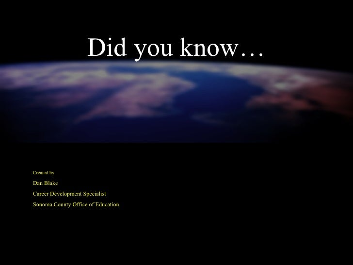 Did you know… Created by Dan Blake Career Development Specialist Sonoma County Office of Education