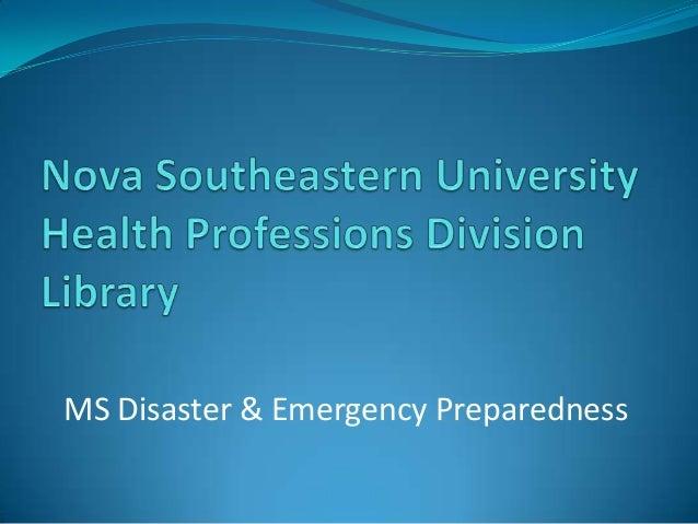 MS Disaster & Emergency Preparedness