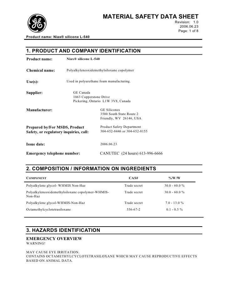 MATERIAL SAFETY DATA SHEET                                                                                         Revisio...
