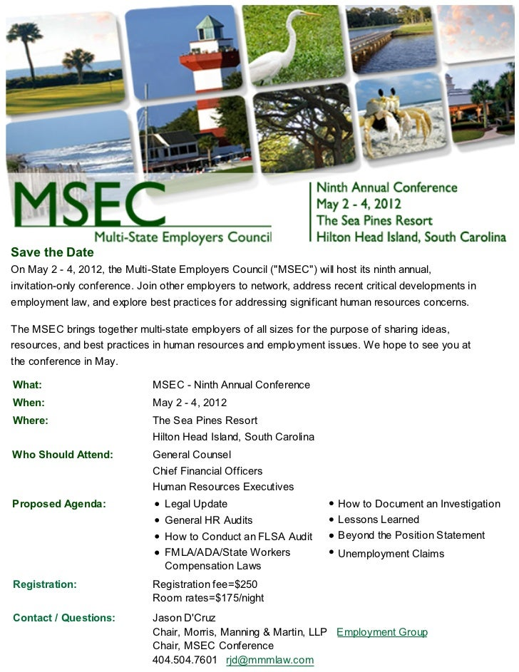 "Save the DateOn May 2 - 4, 2012, the Multi-State Employers Council (""MSEC"") will host its ninth annual,invitation-only con..."