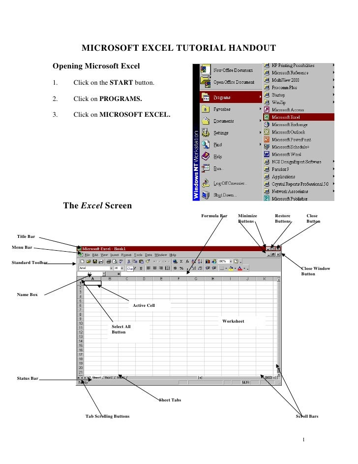MICROSOFT EXCEL TUTORIAL HANDOUT                    Opening Microsoft Excel                    1.     Click on the START b...
