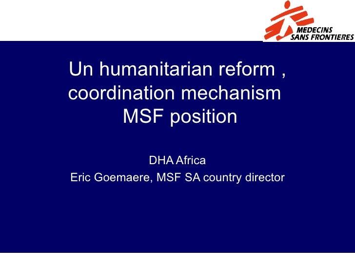 Msf   Un Reform And Msf