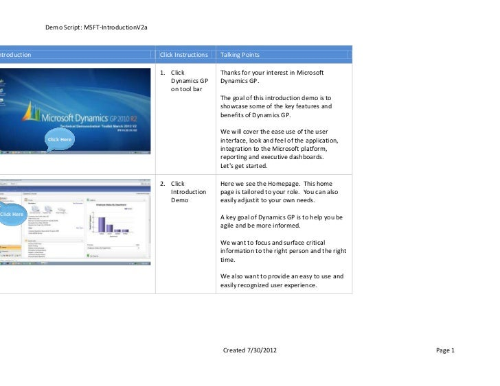 Demo Script: MSFT-IntroductionV2antroduction                                       Click Instructions   Talking Points    ...