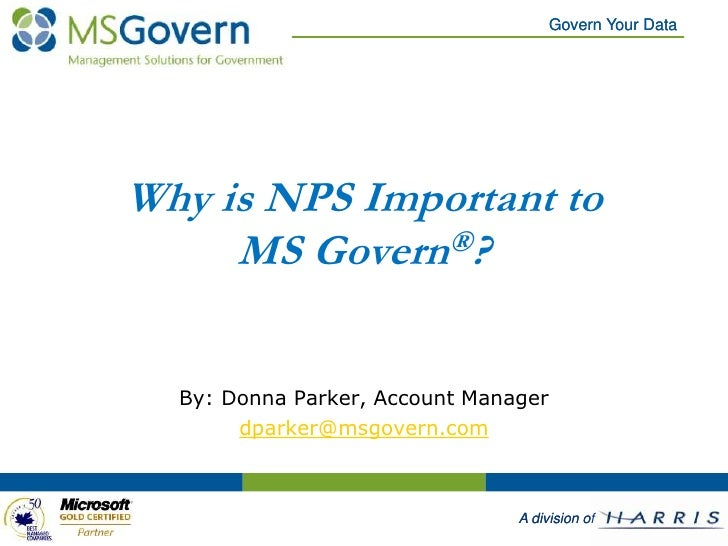 Why is NPS Important to MS Govern®?<br />By: Donna Parker, Account Manager<br />dparker@msgovern.com<br />