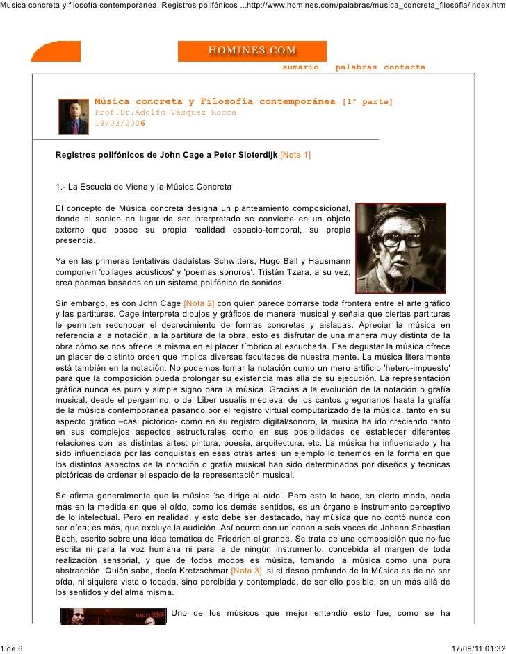Musica concreta y filosofía contemporanea. Registros polifónicos ...http://www.homines.com/palabras/musica_concreta_filoso...