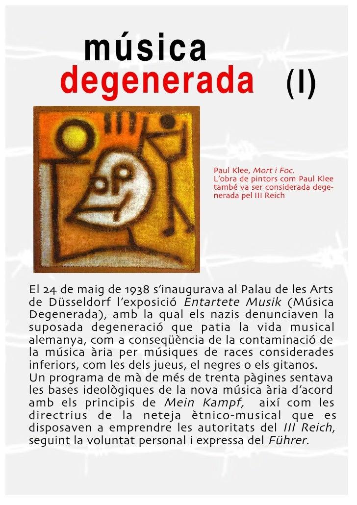 música     degenerada (I)                                 Paul Klee Mort i Foc                                 L'obra de p...