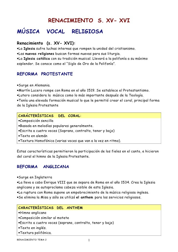 RENACIMIENTO S. XV- XVIMÚSICA            VOCAL           RELIGIOSARenacimiento (s. XV- XVI):•La Iglesia sufre luchas inter...