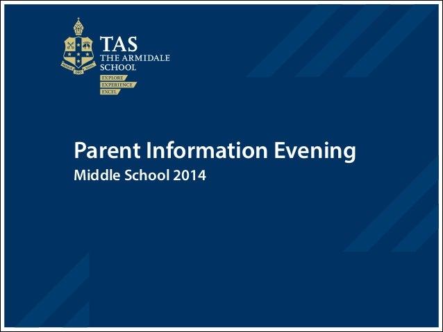 Parent Information Evening Middle School 2014