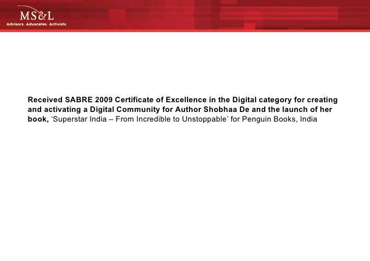 MS&L Asia SABRE Award - Penguin Books India
