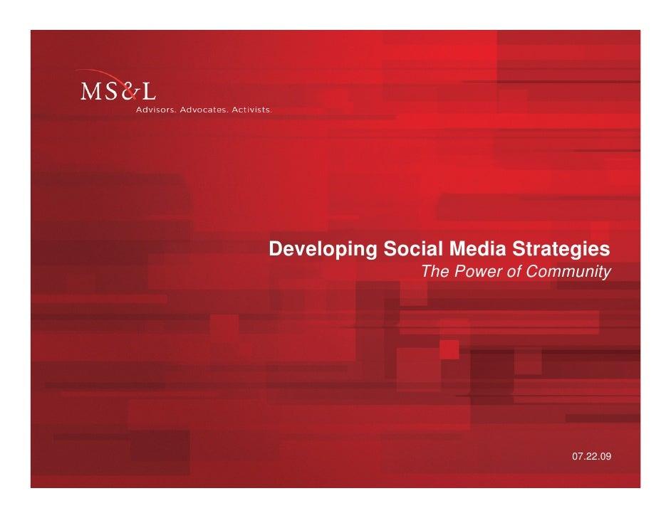 Developing Social Media Strategies
