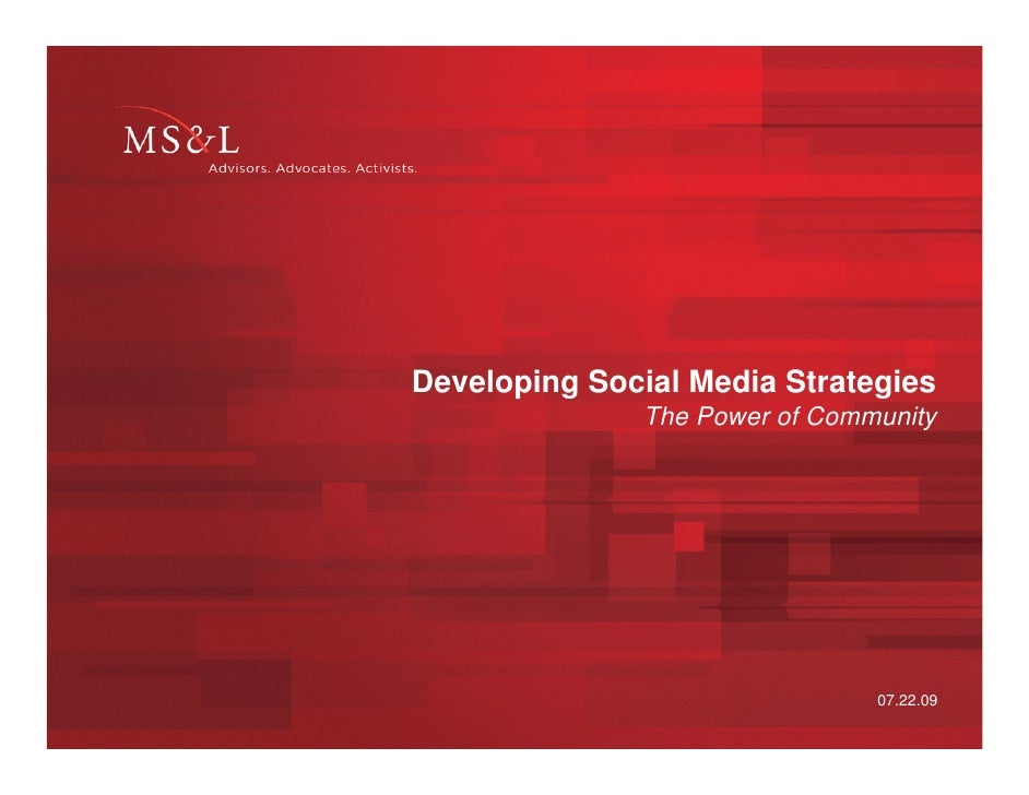 Developing Social Media Strategies