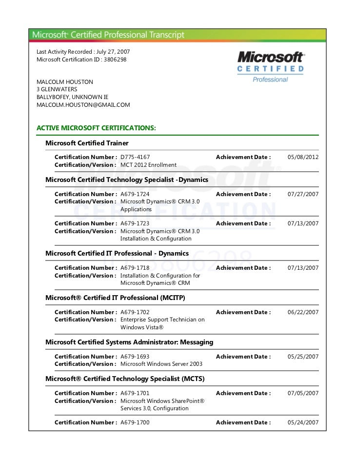 Last Activity Recorded : July 27, 2007Microsoft Certification ID : 3806298MALCOLM HOUSTON3 GLENWATERSBALLYBOFEY, UNKNOWN I...