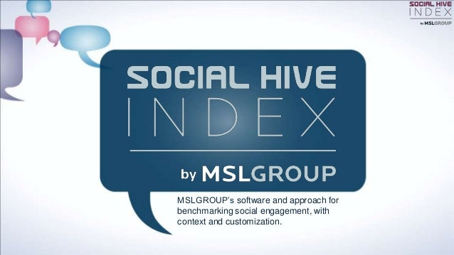 MSLGROUP's software and approach forbenchmarking social engagement, withcontext and customization.