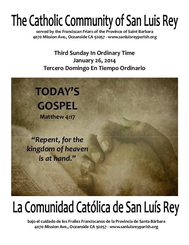 Mission San Luis Rey Parish Bulletin for 1-26-2014