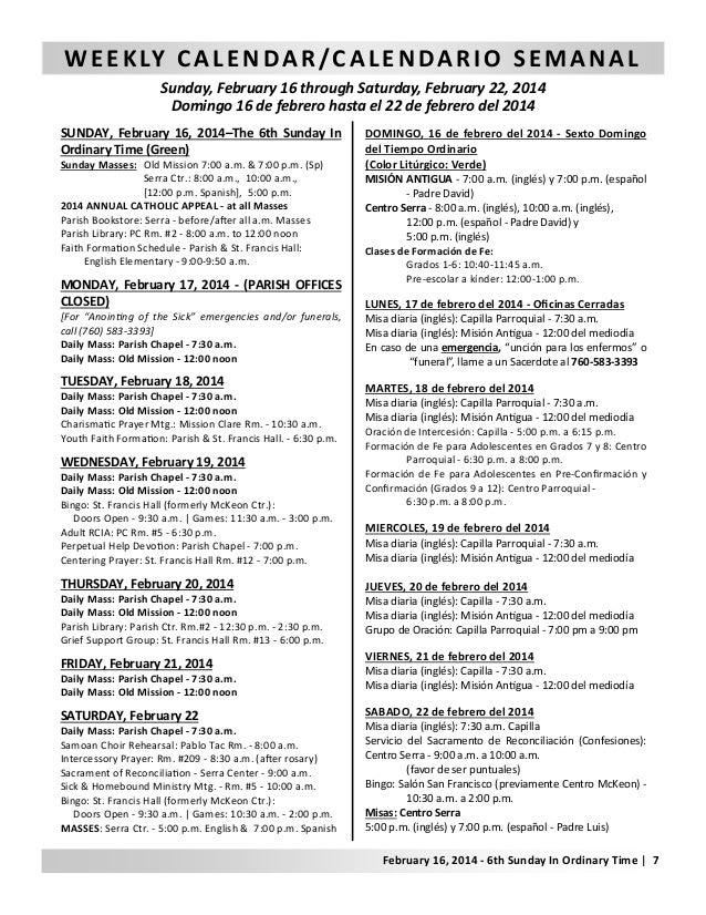 Domingo 16 de febrero hasta el 22 de febrero del 2014