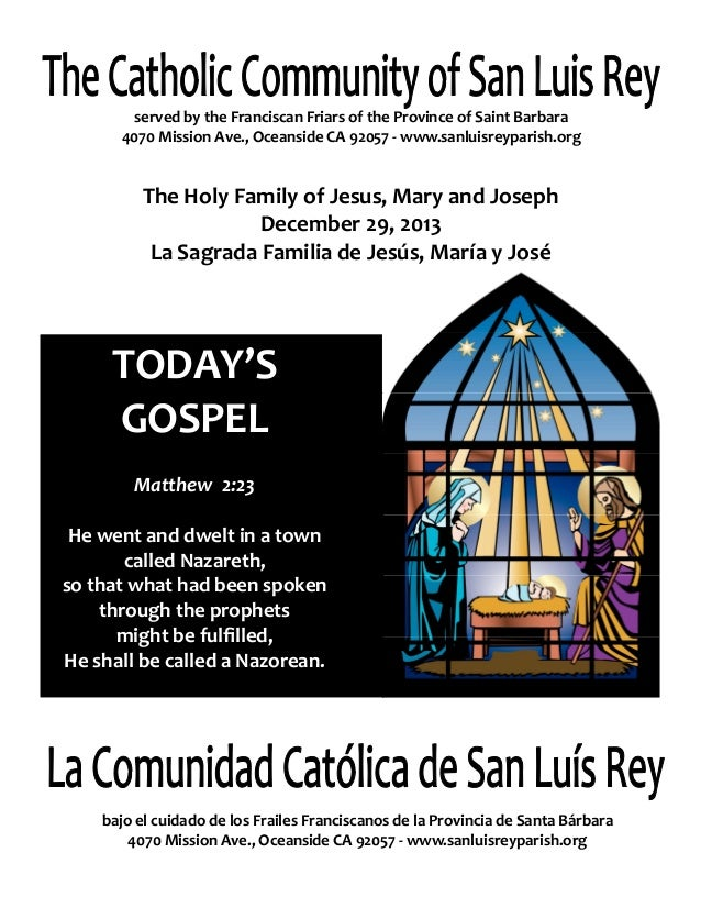 Mission San Luis Rey Parish Bulletin for 12-29-2013