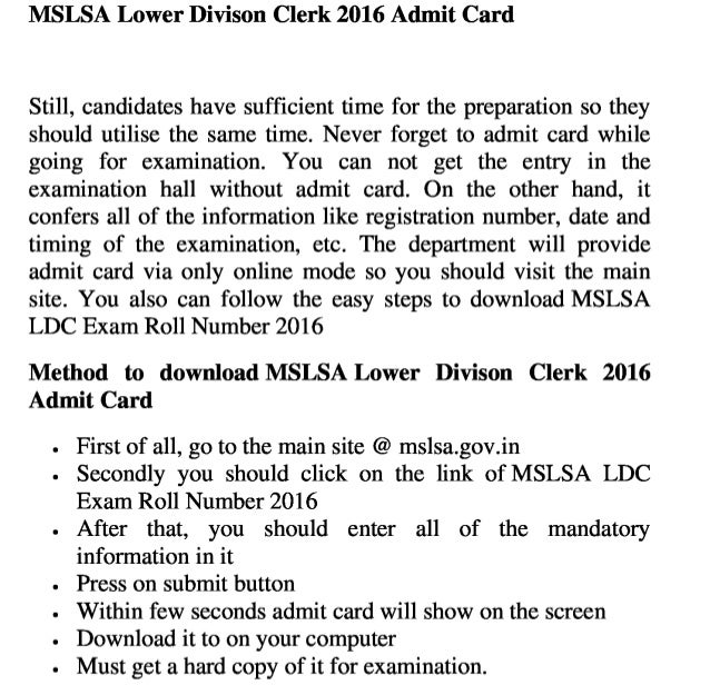 Mslsa exam 2016 admit card, meghalaya  ldc exam roll number & job result