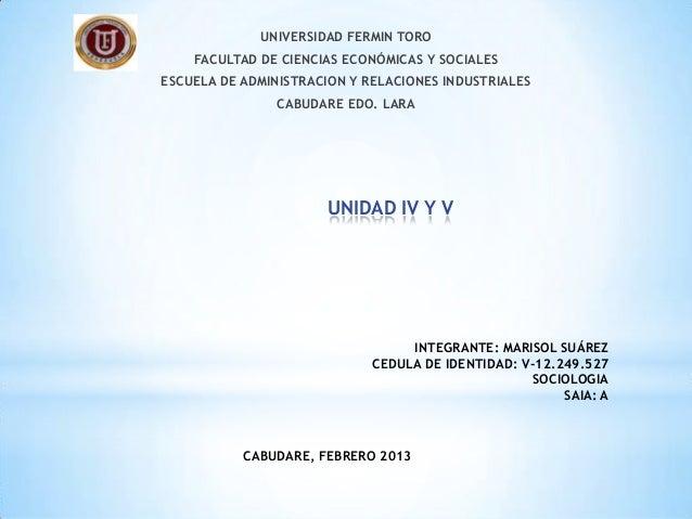 UNIVERSIDAD FERMIN TORO    FACULTAD DE CIENCIAS ECONÓMICAS Y SOCIALESESCUELA DE ADMINISTRACION Y RELACIONES INDUSTRIALES  ...